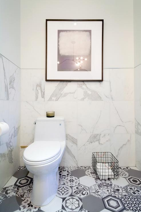 White Marble Bathroom With Gray Mosaic Hex Tile Floor View Full Size