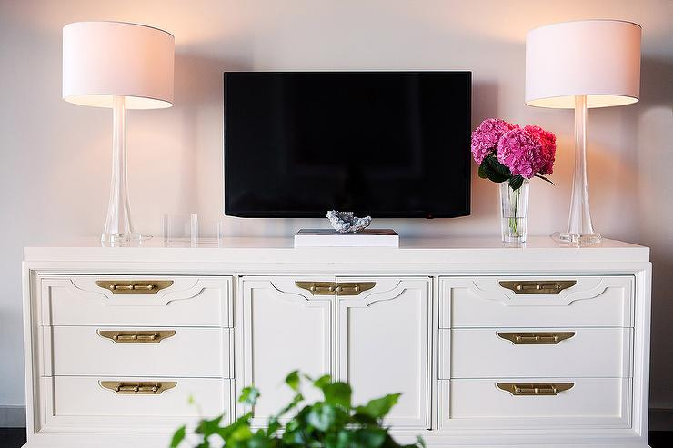 White Campaign TV Cabinet With Brass Hardware