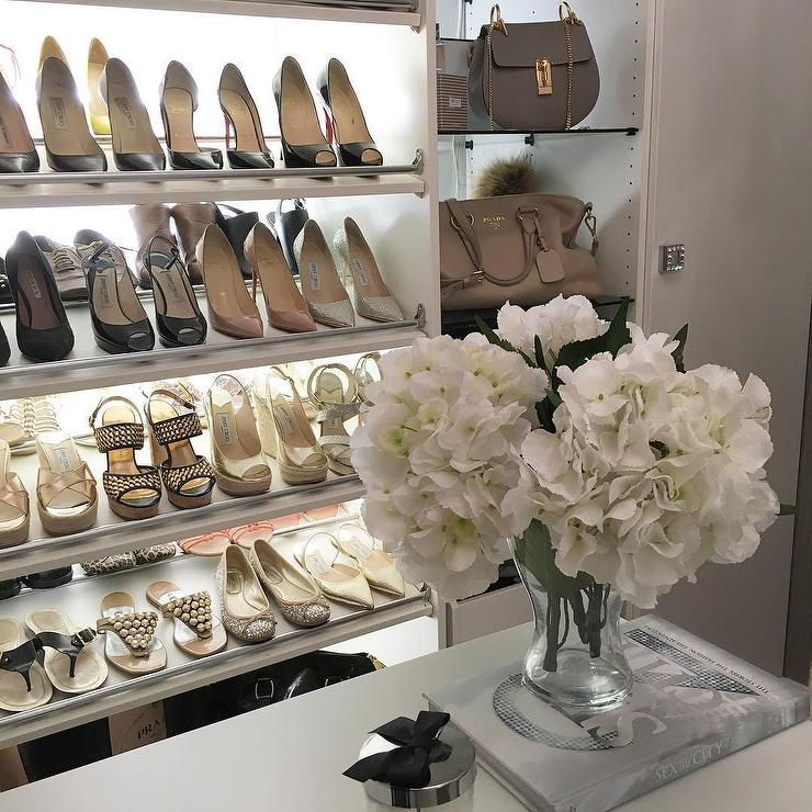 Chic Closet With Lighted Tilted Shoe Shelves