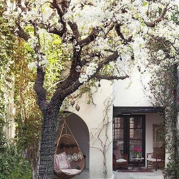 Captivating Backyard With Hanging Woven Chair