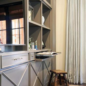 Delicieux Gray TV Cabinets With Pull Out Desk