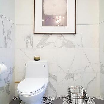 White Marble Bathroom With Gray Mosaic Hex Tile Floor