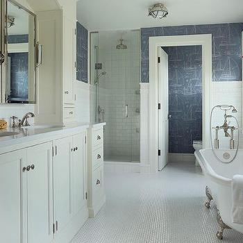 Bathroom blueprint wallpaper design ideas white and blue boys bathroom with ralph lauren chesapeake wallpaper malvernweather Images
