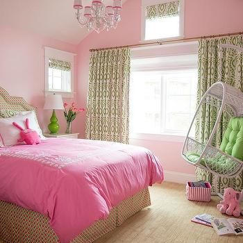 Pink and green teen girl bedroom with green campaign for Pink and green bedroom designs