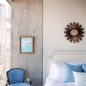 French Gray Headboard With Gold Sunburst Mirror
