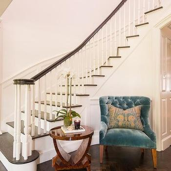 Blue Velvet Table Chair On Staircase Wall With Decorating A Staircase Wall