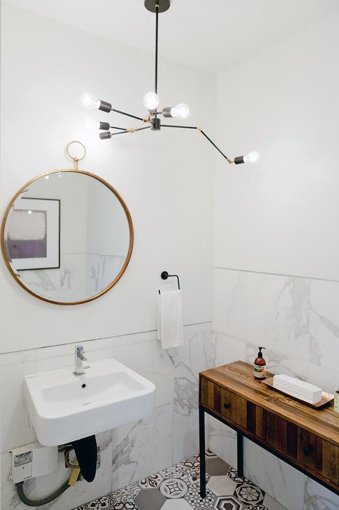 Gold Hoop Mirror Over Wall Sink Modern Bathroom