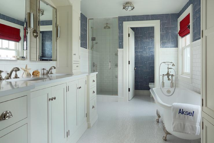 White And Blue Boys Bathroom With Ralph Lauren Chesapeake Wallpaper