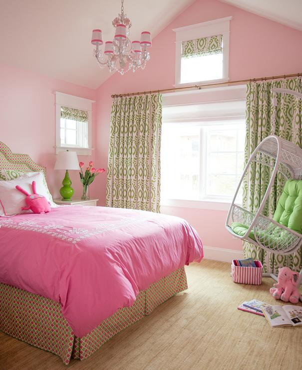 Green And Pink Girls Bedroom With White Rattan Hanging Chair