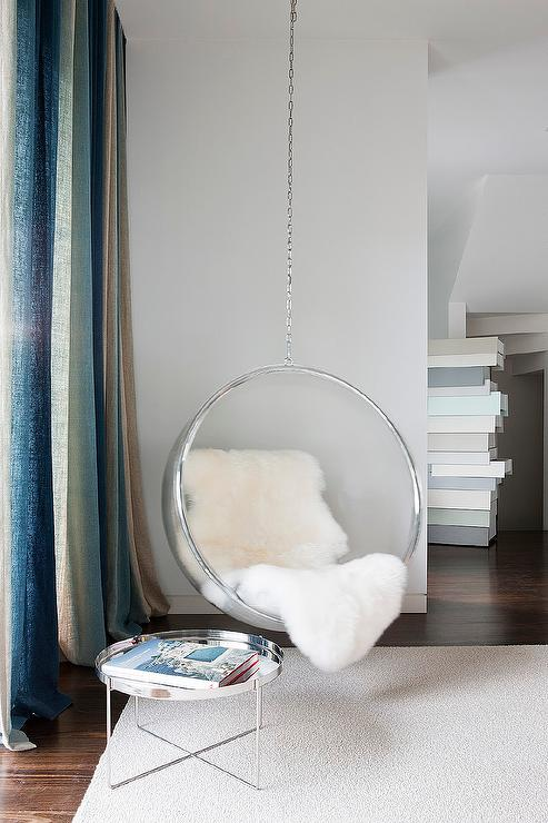 Reading Corner With Acrylic Hanging Bubble Chair