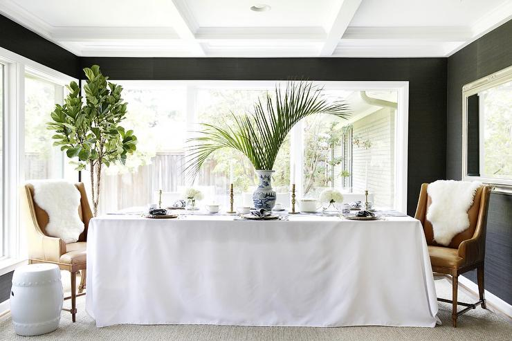 Black and White Dining Room with Black Grasscloth. Black and White Dining Room with Black Grasscloth   Contemporary