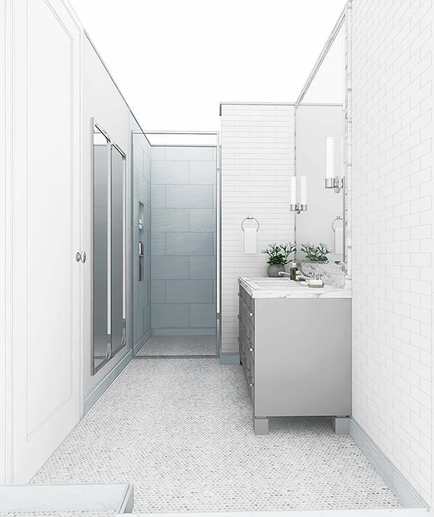Gray Sink Vanity With Marble Penny Tile Floor Modern Bathroom