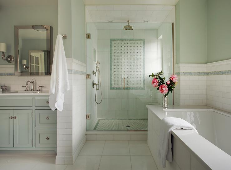 green bathroom with blue mosaic tiles - Celadon Paint Color
