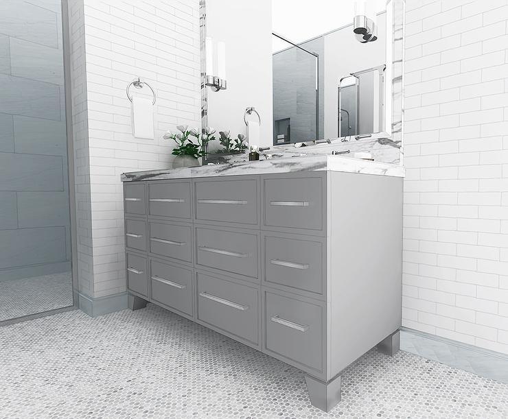 Navy penny floor tiles design ideas page 1 - Penny tile bathroom floor ...