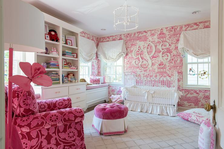White and pink nursery with pink toile wallpaper - Chambre toile de jouy ...