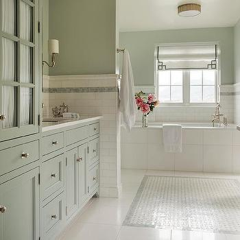 Green bathroom with blue mosaic tiles transitional for Blue and green bathroom ideas