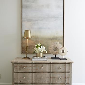 Gold Living Room Dresser with Gold Pulls - Transitional - Living Room