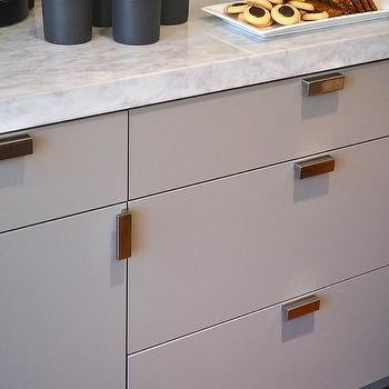 High Quality Gray Flat Front Cabinets With Industrial Pulls