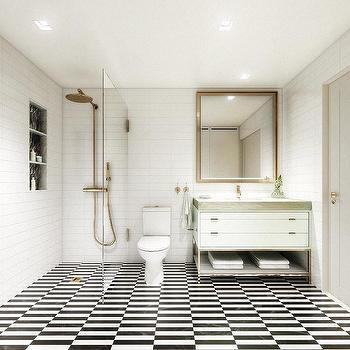 Black And White Stripe Shower Floor Tiles With Antique Brass Rain Shower  Head