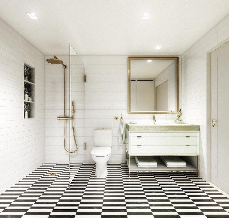 Black And White Stripe Shower Floor Tiles With Antique Brass Rain