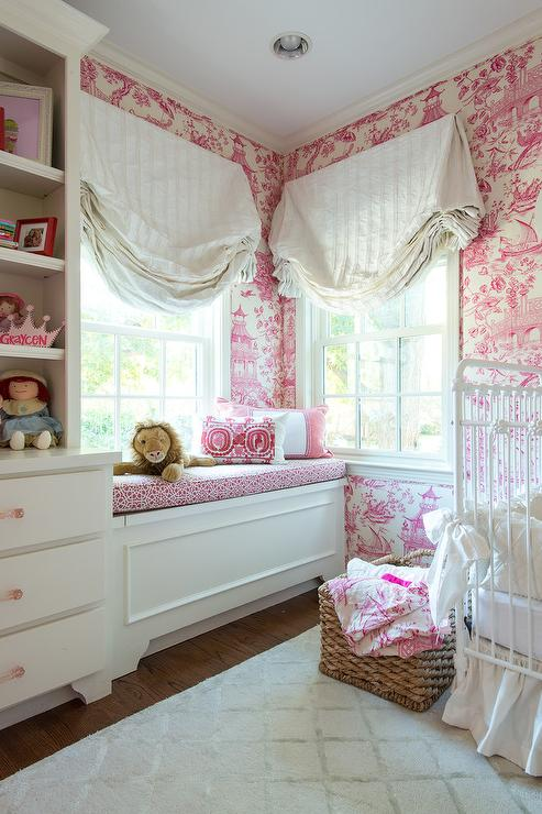 White And Pink Nursery With Pink Toile Wallpaper