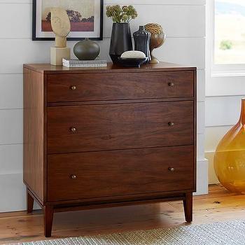 Brown Mirrored Carved Swirls Overlay Dresser