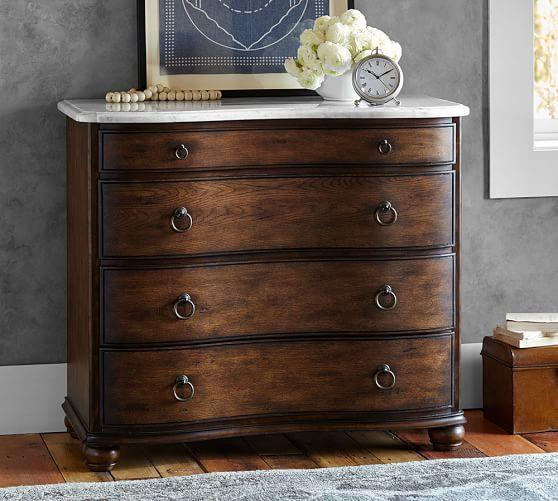Sansome Marble Top Brown Dresser