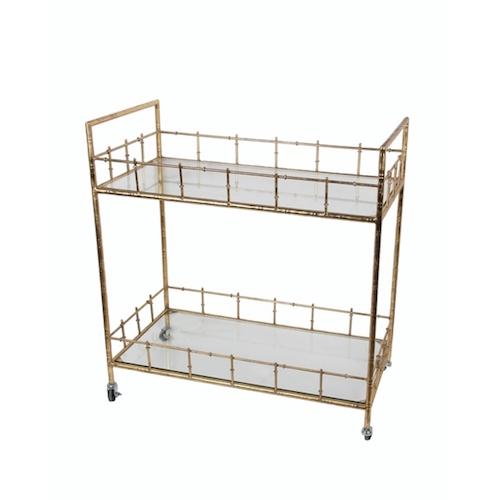 arteriors lisbon vintage bar cart wine rack look for less. Black Bedroom Furniture Sets. Home Design Ideas