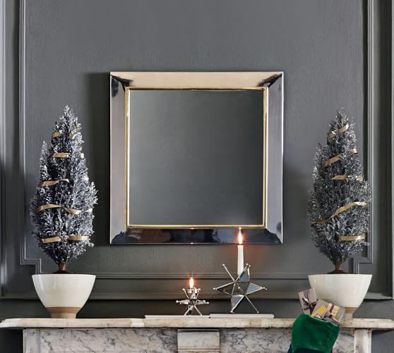 evelyn mirrored frame silver square wall mirror - Mirrored Frame