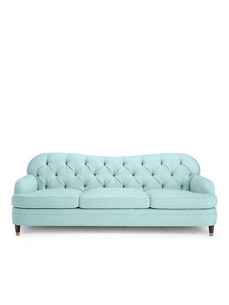 Pale Aqua Drake Tufted Sofa