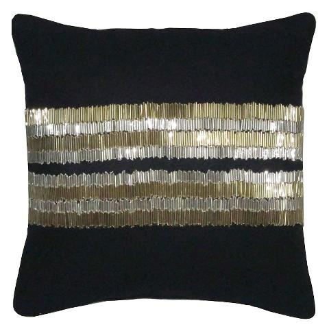 Nate Berkus Metallic Gold Plates Decorative Black Pillow