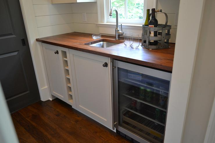 Cottage Butler Pantry With Walnut Countertop Cottage