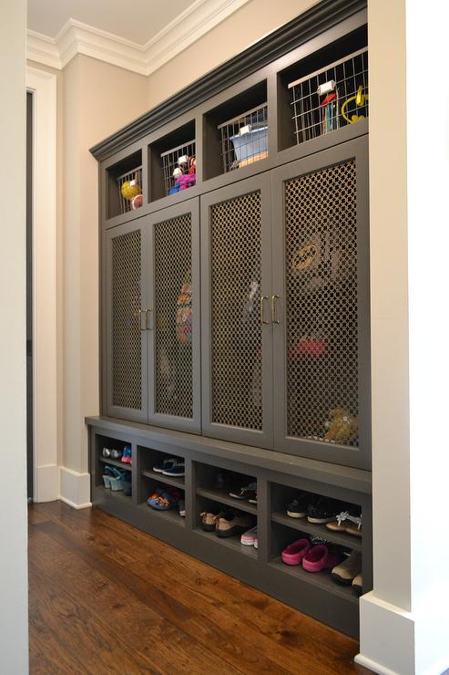 Mudroom Storage Bins : Gray mudroom lockers with metal grill mesh doors cottage