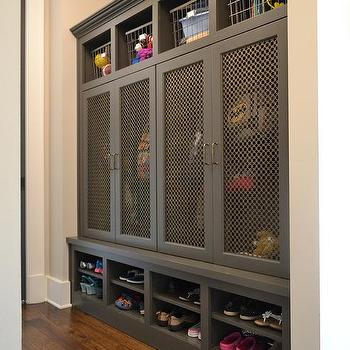 Metal Mesh Mudroom Locker Doors With Brass Hardware