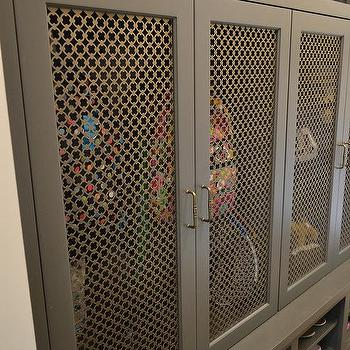 Gray Mudroom Lockers With Metal Grill Mesh Doors Cottage