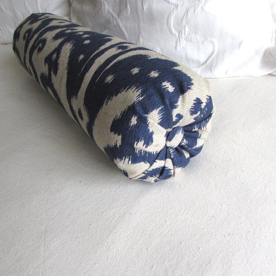 Ikat Straw on White Super long Bolster Pillow