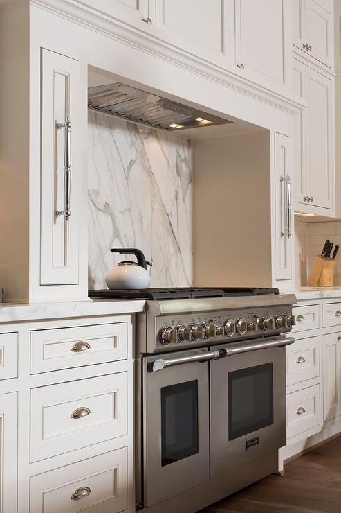 Cooking Nook With Marble Diamond Pattern Tiles