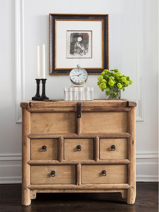 Rustic Foyer Chest : Rustic bamboo foyer chest with candlesticks transitional