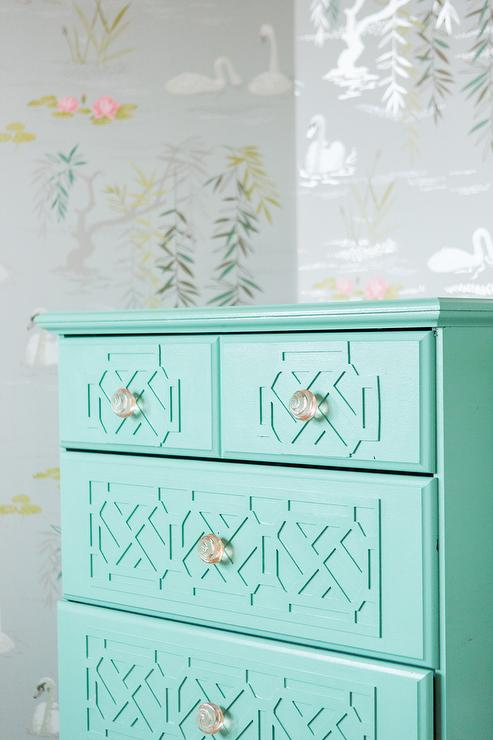 Gray and Turquoise Toddler Room with Turquoise Blue Dresser