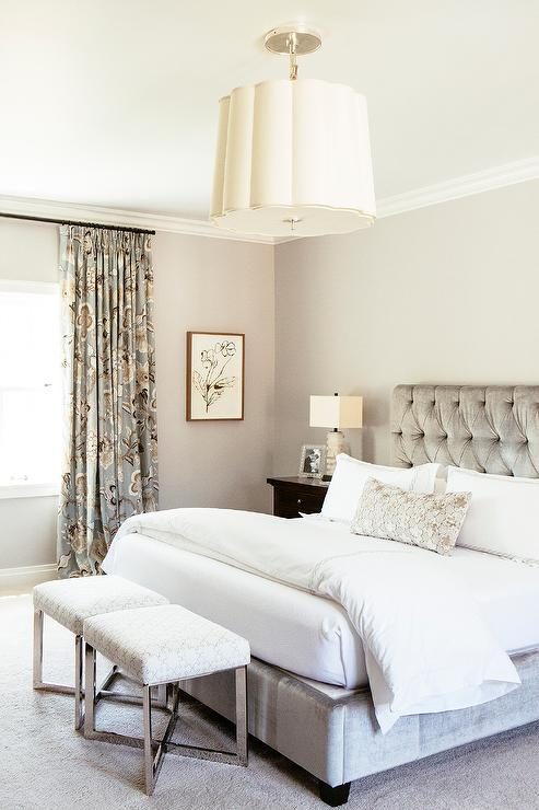 Gray Bedroom With Gray Velvet Tufted Bed Transitional