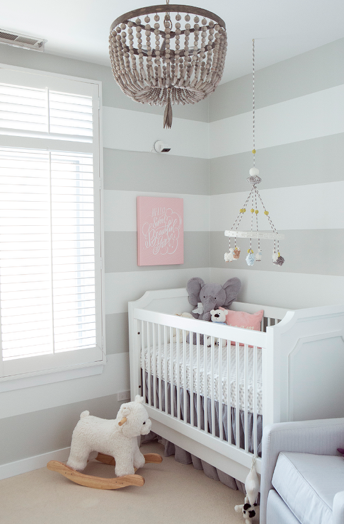 Gray striped nursery with gray beaded chandelier transitional gray striped nursery with gray beaded chandelier aloadofball Images