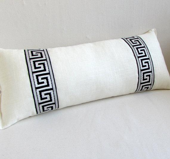 greek key black and white bolster pillow