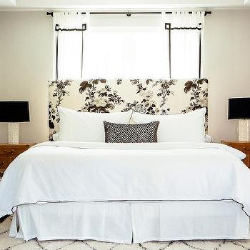 Black And White Bedroom With White Campaign Nightstand