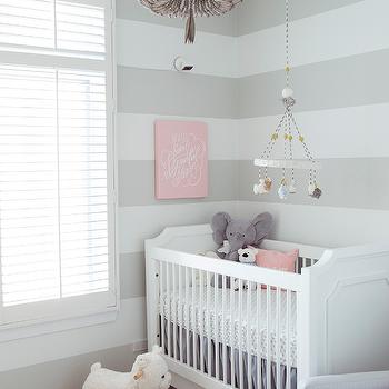 Beaded nursery chandelier design ideas gray striped nursery with gray beaded chandelier aloadofball Images