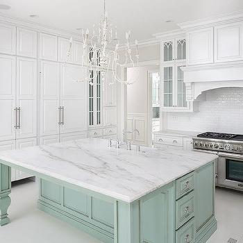 Lovely White Kitchen With Mint Green Island
