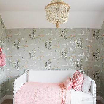 Pink and gray kids room with osborne and little swan lake wallpaper