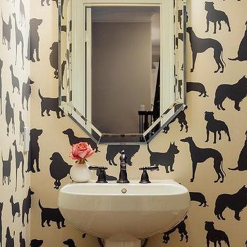 Ivory And Black Dog Print Wallpaper Design Ideas