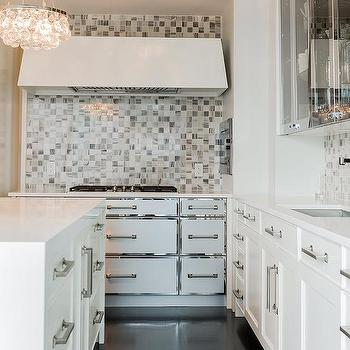White Kitchen Cabinets With Stainless Steel Trim