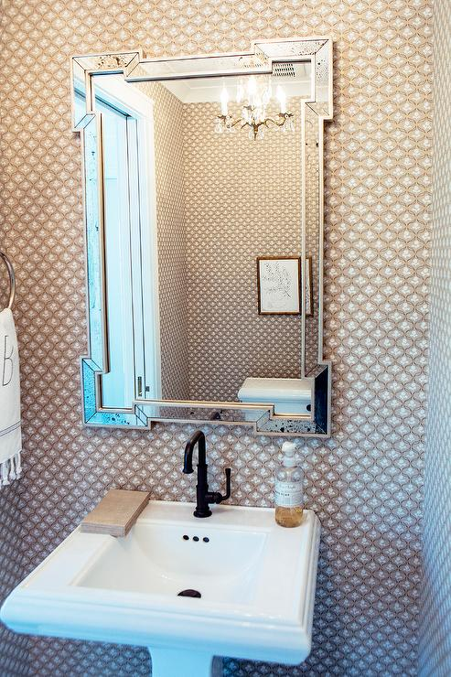 Powder Room With Greek Key Mirror And Pedestal Sink Transitional