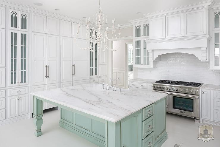 White kitchen with mint green island transitional kitchen for Green and white kitchen designs